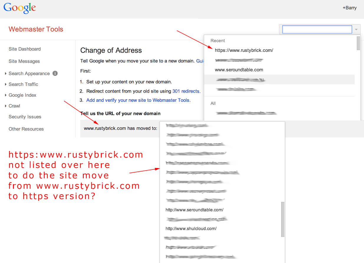 google webmaster tools change of address tool fails with https migration