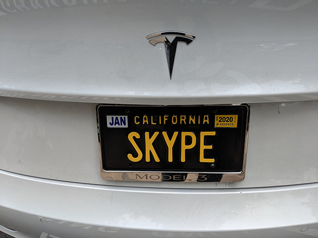 A Skype License Plate On Tesla At Google