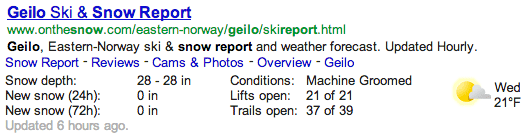 Google Weather/Snow Conditions Rich Snippets