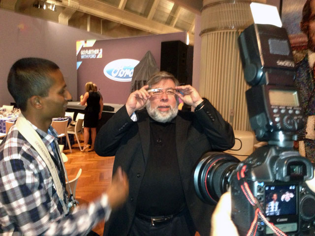 Steve Wozniak Wears Google Glass