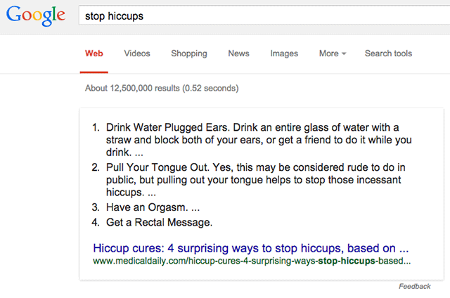 Google Answer For Stop Hiccups: Have an Orgasm