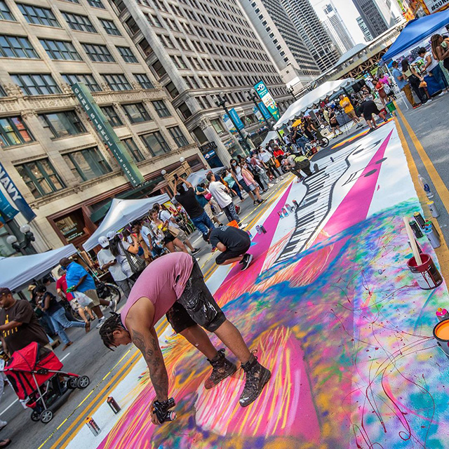 Street Mural Painting In Front Of Google Chicago Office