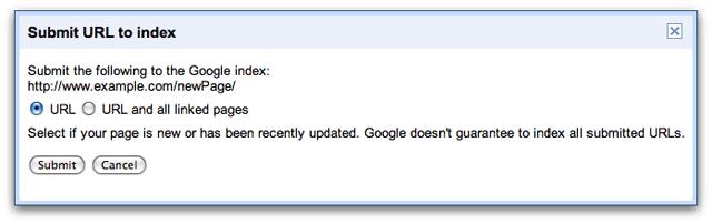 Google URL index