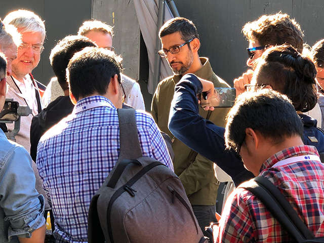 Sundar Pichai Followed By Press At Google I/O