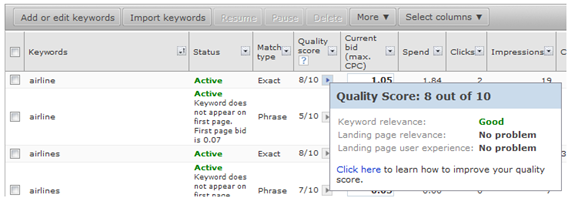 Microsoft adCenter Quality Score