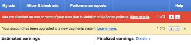 Adsense Policy Notifications - click for full size