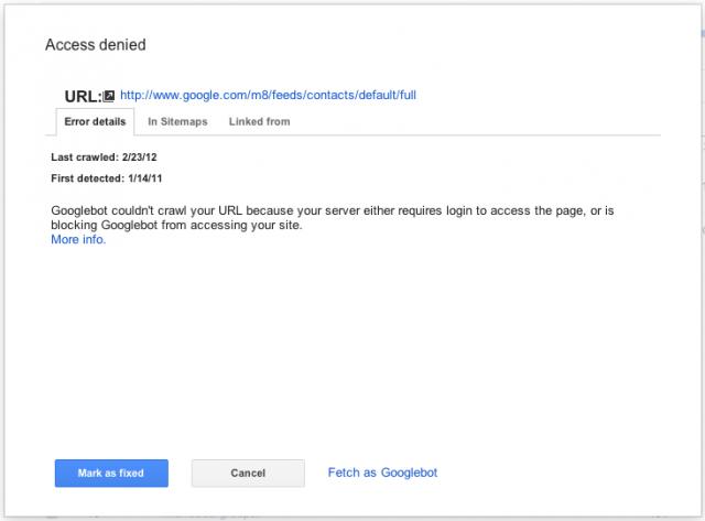 Google Webmaster Tools Crawl Errors - Error Details