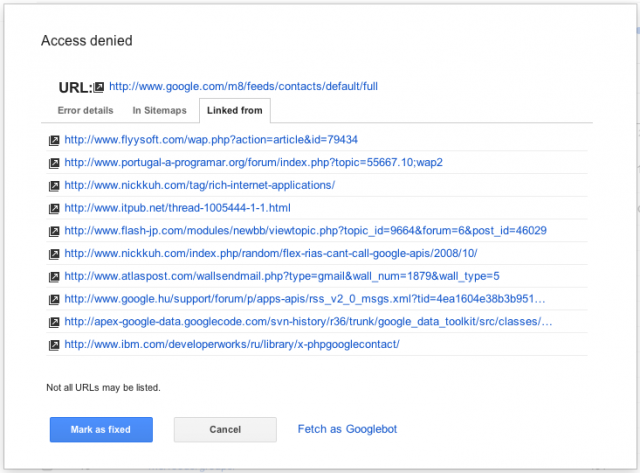 Google Webmaster Tools Crawl Errors - Error Details Links