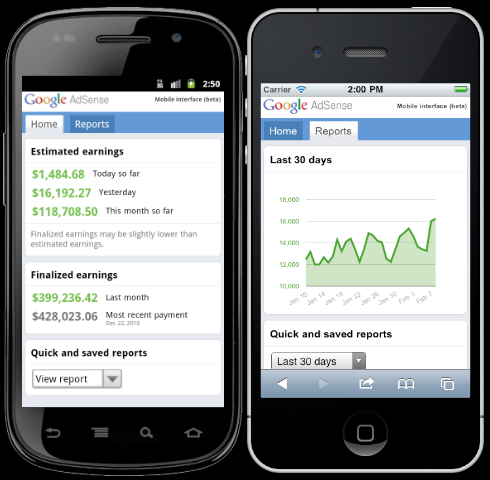 AdSense Mobile Interface