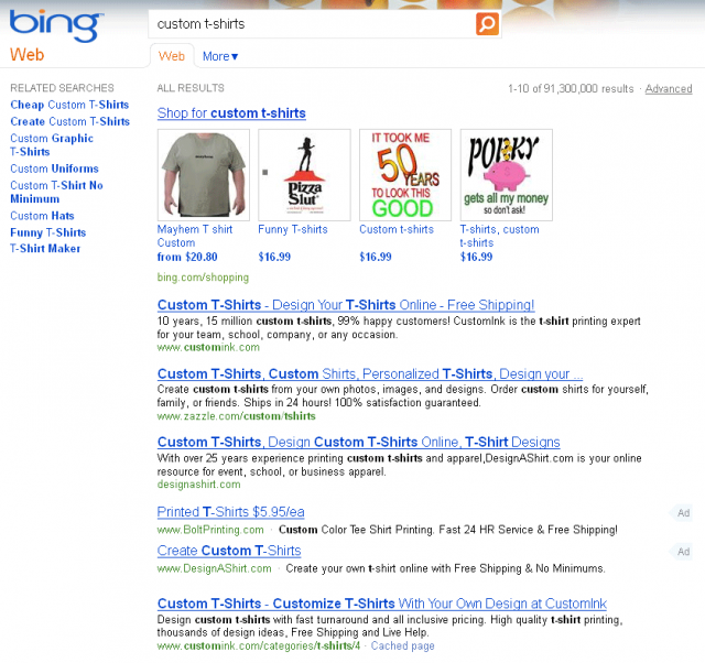 Bing Ads in Organic Results