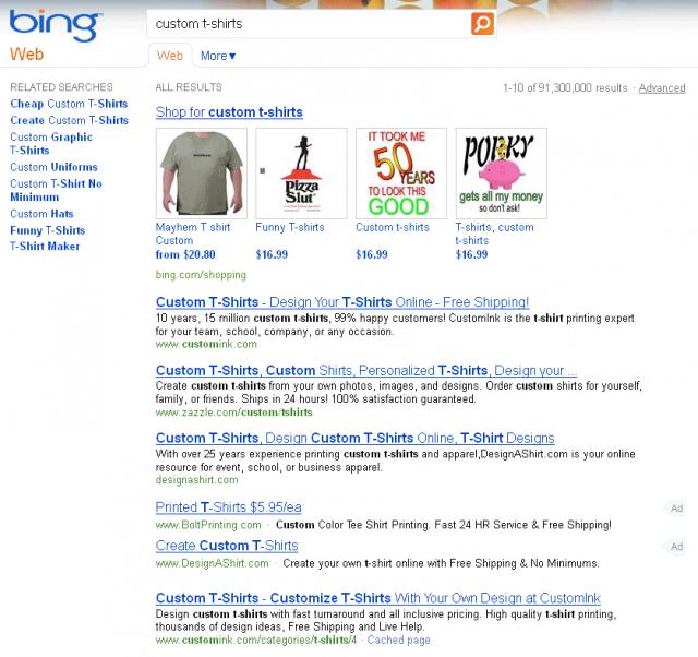 Bing Ads in Organic Results