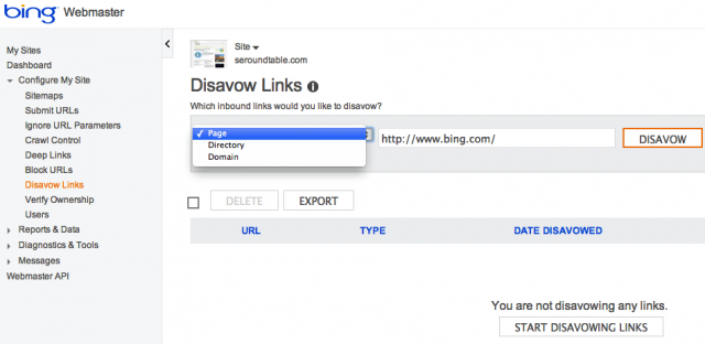 Bing Disavow Links click for full size
