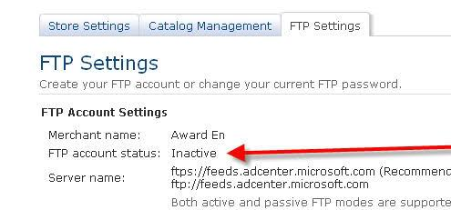 Bing Shopping Inactive FTP Account