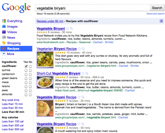 Google Recipe Screen Shot