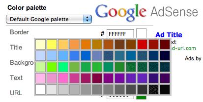 Google AdSense Color Palettes