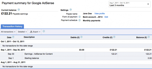 Google AdSense Payment Page Updated - click for full size