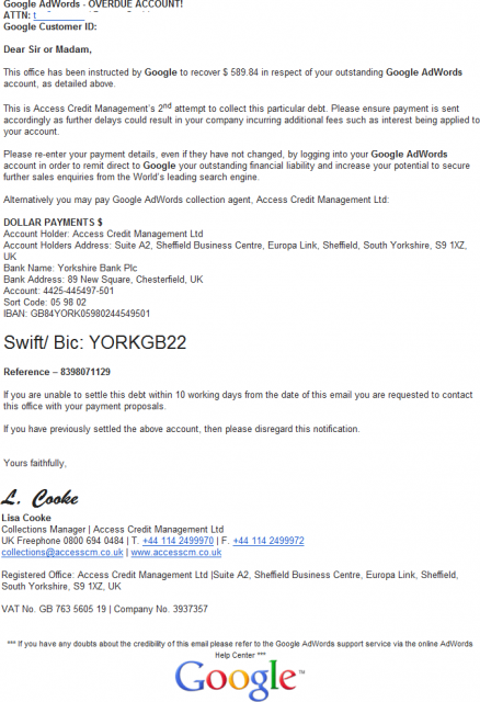 Google Debt Collection Notice