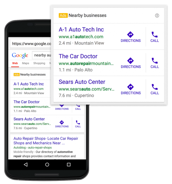 Google AdWords Nearby Businesses - click for full size