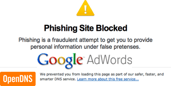 Google AdWords Phishing Attempts (OpenDNS)