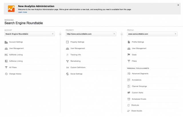 New Google Analytics Administration Screen - click for full size
