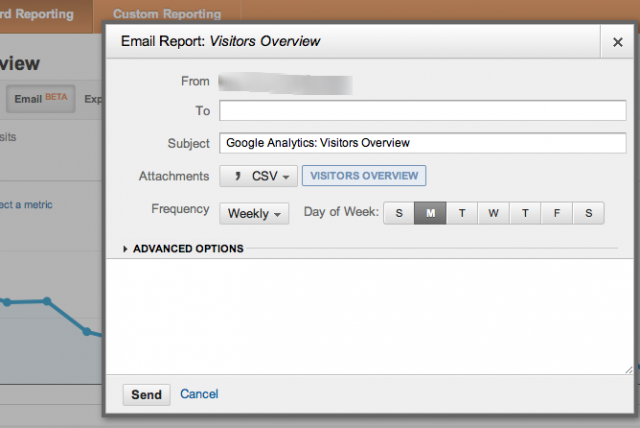 Google analytics Email Option - click for full size