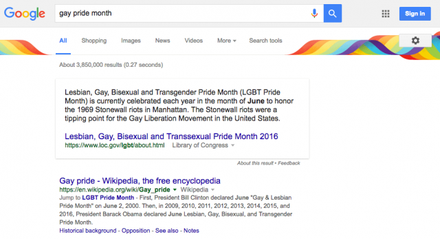 Google 2016 Gay Pride Search Results Design - click for full size