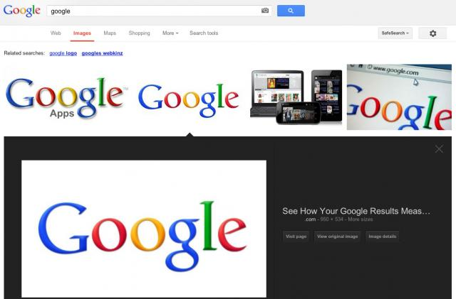 Google Image Search Testing New User Interface - click for full size
