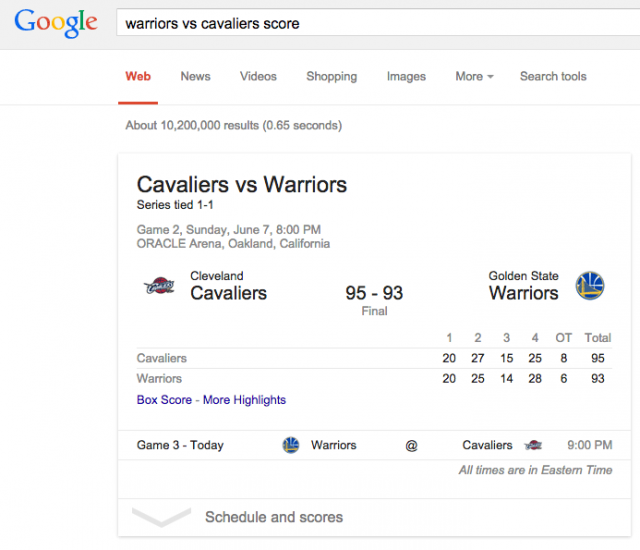 Google Live Results - click for full size