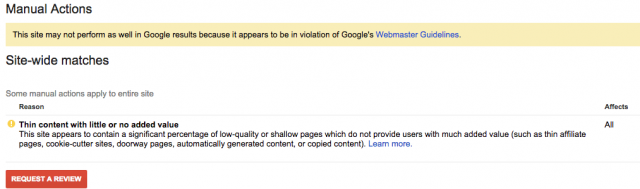 Google Slaps Mass Manual Actions For Thin Content - click for full size