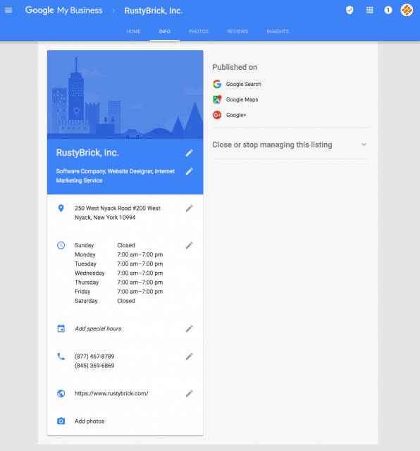 google my business interface change