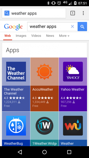 New Look For Apps In Google Mobile Search - click for full size