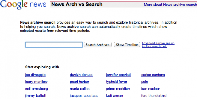 Google News Archive Home Page
