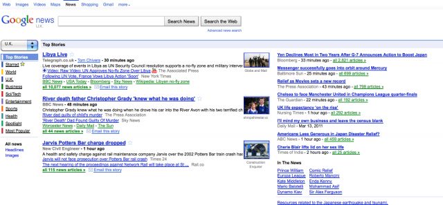 Google News Home Clusters - Click to Enlarge In New Window
