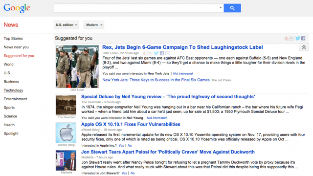 Google News Suggested For You Section - click for full size