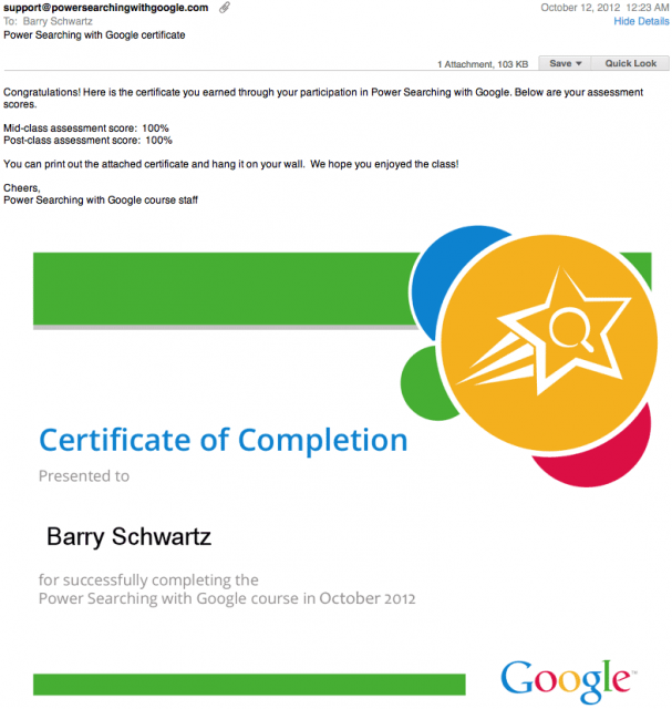 Google Power Searching Certificates - click for full size