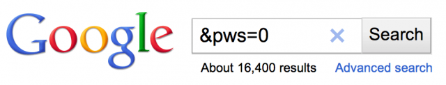 Google Personalized Results - PWS=0
