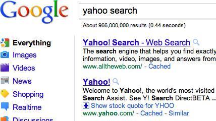 alltheweb ranking yahoo in google