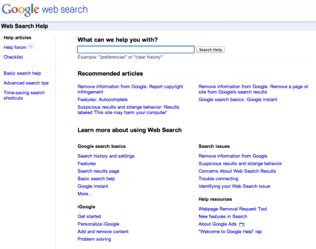 Old Google Web Search Help