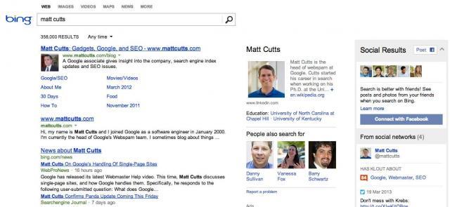 matt cutts bing search