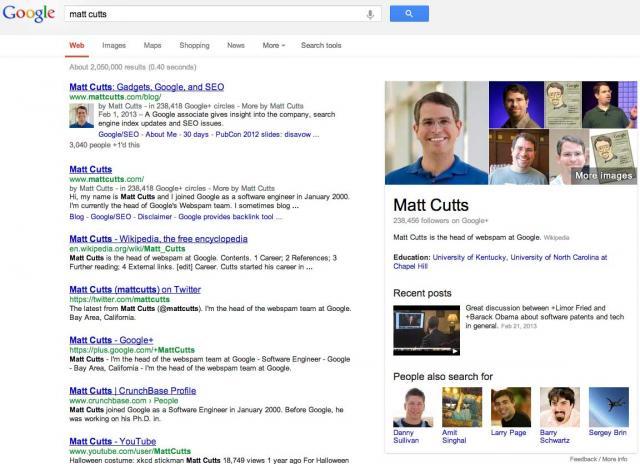 matt cutts google search