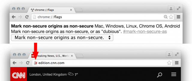 Google Chrome Canary Displays HTTP As Non Secure - click for full size