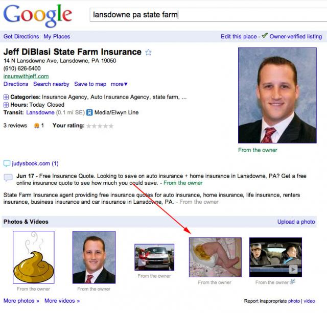 Google Places Poop Diaper Prank