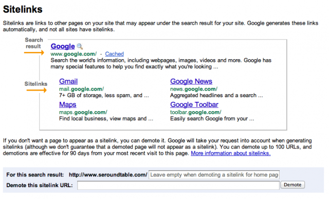 New Google Sitelinks in Webmaster Tools - Click to Enlarge