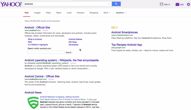 Yahoo Search Testing Google Search User Interface