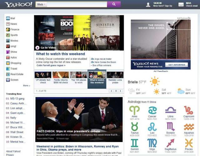 Yahoo Home Page Test - click for full size
