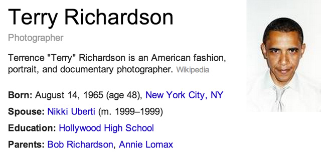 Terry Richardson Google Knowledge Graph as Barack Obama
