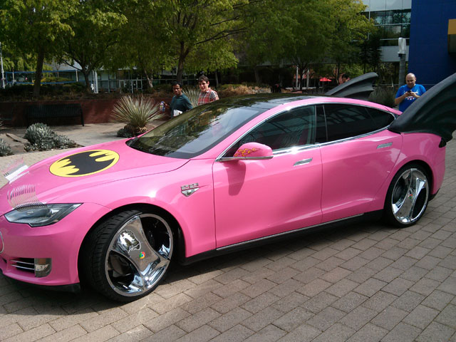 Tesla Pink Bat Car - Google Prank