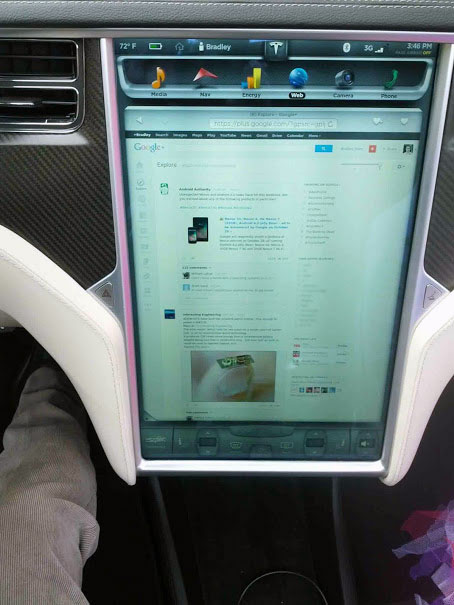 Google+ On The Tesla Model S