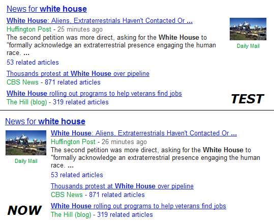 Google News SERPs Test