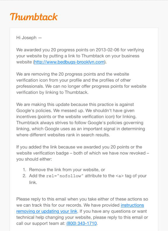 Thumbtack Google Apology